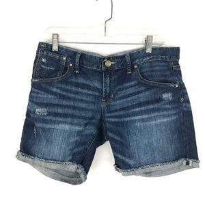 Gap jean denim shorts destructed dark mid rise